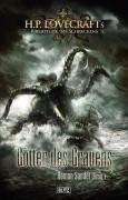 Das finale Cover mit neu gestaltetem Reihen-Logo -H.P. Lovecrafts Bibliothek des Schreckens, Band 1 – Götter des Grauens (BLITZ-Verlag)